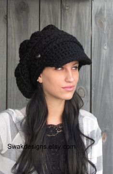 Black Slouchy Cap Womens Newsboy Hat Satin Lined Chunky Beanie  20eb9414071