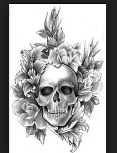 Skull with flowers! Tatto