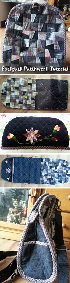 Female Backpack Patchwork, sewing instructions. DIY step-by-step tutorial.  http://www.handmadiya.com/2015/08/backpack-patchwork.html