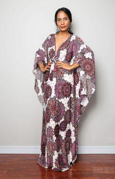 Funky Maxi Dress - Long Wide Sleeve Boho Print Dress : Funky ...