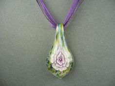 ARTISAN MURANO GLASS LAMPWORK FLOWER LEAF PENDANT WITH LAVENDER RIBBON  CORD