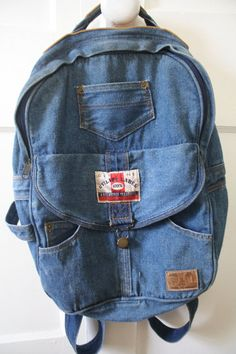 Utility Label 90's Blue Jean Backpack