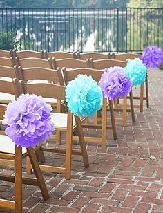 Pom-poms for wedding aisle decor...I only need pink and green though