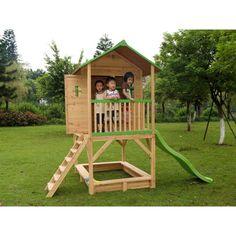 Maisonnette nino en bois sur pilotis cabane en bois for Cabane de jardin belgique