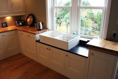 Rustic kitchen renovation with a Belfast sink.  For a free consultation call: 0113 262 5954 http://www.redesignexperts.co.uk/