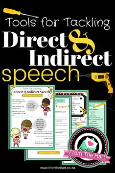 Give your students the tools to help them master one of the trickier language tasks. This product includes step-by-step explanations, activity pages and answers Speech Language Pathology, Speech And Language, Language Arts, Direct And Indirect Speech, Grammar Skills, Developmental Delays, School Sets, English Reading, Reading Resources