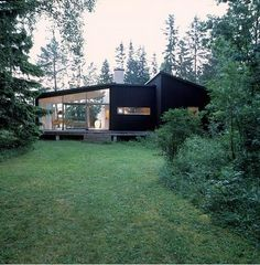 Love this modern Scandinavian summerhouse tucked back into the woods. The black and green together are stunning.