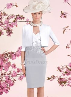 Sheath/Column V-neck Knee-Length Lace Appliques Lace Satin Zipper Up Sleeves 1/2 Sleeves Yes Silver Spring Winter General Mother of the Bride Dress