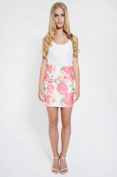 Bottoms : Rosette Mini Skirt