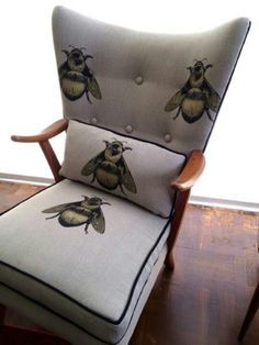chair with bumble bee print