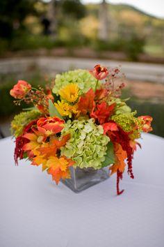 Autumn Leaves Wedding Centerpiece