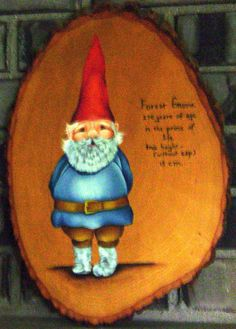One adorable Vintage Garden Gnome Woodland Treasure wall slice with stats, handpainted, 17 x 11.5 inches