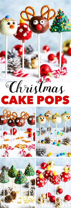 Gluten Free Christmas Cake Pops 4 Ways - Four variations of gluten free Christmas cake pops, each one more adorable than the other. Rudolph, Christmas tree, snowman, and bauble pops Gluten Free Christmas Cake Pops 4 Ways - The Loopy Whisk Holiday Baking, Christmas Desserts, Holiday Treats, Christmas Treats, Christmas Baking, Rudolph Christmas, Diy Christmas, Holiday Cakes, Xmas