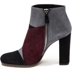ROBERTO FESTA 103007 Black/Grey/Wine Suede Bootie (£150) ❤ liked on Polyvore featuring shoes, boots, ankle booties, black booties, black ankle booties, suede ankle boots, black suede boots and high heel ankle boots