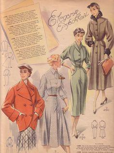 Retro Vintage Dresses, Vintage Dress Patterns, Vintage Outfits, Vintage Clothing, Diy Fashion, Retro Fashion, Vintage Fashion, Mode Mantel, Paris Outfits