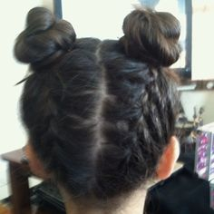 Upside down braids and buns
