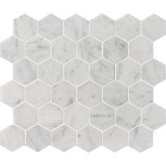 White Carrara C Honed 10 3/8x12 Hexagon Marble Mosaics - Marble Systems Inc.