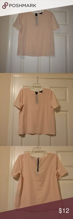 """Forever 21 blush sheer blouse Forever 21 blush sheer blouse. Semi-fitted. 100% polyester. Short sleeves. Zipper in top part of back. L- 23"""", W-17"""" pit to pit. Like new condition. Pretty sure this was never worn. Forever 21 Tops Blouses"""