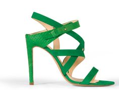 Emerald python and leather sandals by Elie Saab
