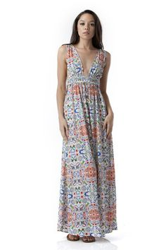 Rise Of Dawn Cutout Print Maxi Dress - White + Multi