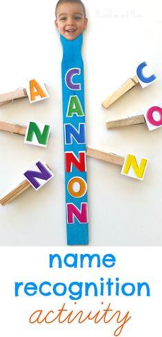 Clothespin Name Recognition Activity by Munchkins and Moms