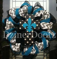 Chevron Burlap and Polka Dot Turquoise Cross deco by DzinerDoorz, $85.00