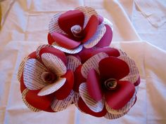 Set of 3 Book Page Maroon Paper Flowers,Stem Roses,Book Rose,Book Paper Wedding Decoration,Eco Wedding,Centerpiece,Vintage Paper Flower by ThePurpleDream on Etsy
