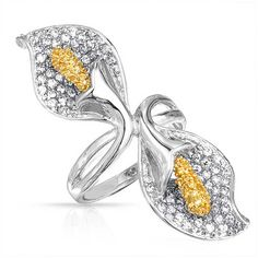 Bling Jewelry Bling Jewelry Citrine Color Cz Calla Lily Cocktail Ring... ($41) ❤ liked on Polyvore featuring jewelry, rings, yellow, statement rings, yellow cubic zirconia ring, cocktail ring, yellow cz ring and leaf ring