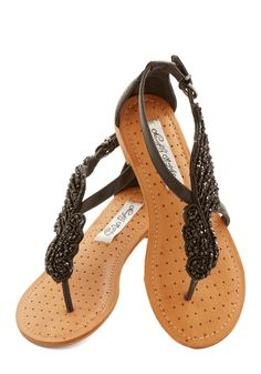 Completely obsessed with these shoes.... A Flight to See Sandal in Black, #ModCloth Size 9.5