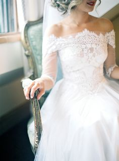 Beautiful, off the shoulder, wedding dress! Love the lace detail!