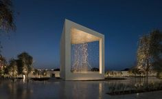 """""""The Constellation"""" at the Founder's Memorial Park in Abu Dhabi, United Arab Emirates by Ralph Helmick and dpa lighting consultants. Memorial Architecture, Monumental Architecture, Landscape Architecture, Architecture Design, Abu Dhabi, Triangular Prism, Wallpaper Magazine, Memorial Park, Gardens"""