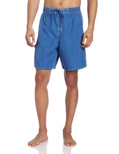 Cubavera Mens Solid Swim Trunk With Pocket And Contrast Stitch Detail Federal Blue Large -- View the item in details by clicking the VISIT button