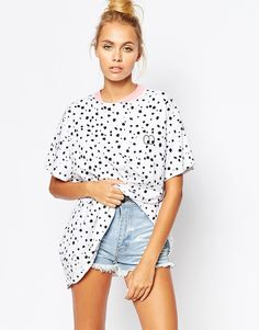 Lazy+Oaf+Oversized+T-Shirt+With+Tiny+Eyes+And+All+Over+Spot+Print