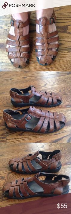 """Mephisto Sam Fisherman brown leather sandal sz39/9 Brown leather sandal, Made In France,textured leather and super comfortable with sole marked with""""4X Shock Absorbing System"""" Mephisto Shoes Sandals"""