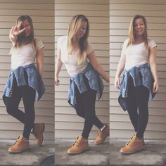 Timberlands from champs Leggings from forever 21 V neck from target Jean jacket from forever 21