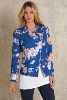 Botanical Jacket - Womens Mandarin Collar Jacket, Cherry Blossom Jacket | Soft Surroundings