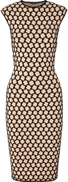 Alexander Mcqueen Honeycomb Intarsia Stretch Knit Dress - Lyst