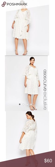 ASOS Curve lace kimono dress NWT Gorgeous white lace kimono dress by ASOS curve, perfect for the upcoming spring. Size 16, brand new with tags. I️ accept offers but please no trades. ASOS Curve Dresses