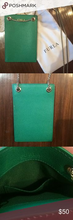 Mini furla purse. Used once! Beautiful emerald green leather furla mini purse with long gold rope-like chain  Perfect as a cross body. Has a small side pocket for lipstick or a credit card   Bought in Verona, Italy and have used maybe once or twice. Like new and comes with original furla dust bag  Purse body is approximately 4.75in by 6.75in  Chain is approximately 2ft long  Make an offer! Furla Bags
