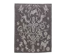 Klässbols Helvete/ Hell Towel in Black and White pure linen. Whimsical folkloric illustration of Hell designed by Wanja Djanaieff. 100%...