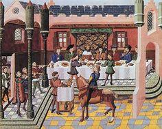 Royal banquet. From Jean Wauquelin's Chroniques d'Alexandre, mid 15 C (Bruges). BnF MS Français 9342 fol. 13. Bibliothèque nationale, Paris.