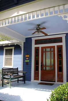 Haint Blue porch ceiling on blue painted cottage in Abita Springs Historic District Paint Colors For Home, House Colors, Navy Blue Houses, Haint Blue Porch Ceiling, Abita Springs, Creole Cottage, Porch Paint, Colored Ceiling, Painted Cottage
