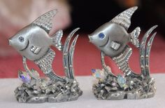 VTG PEWTER ANGEL FISH FIGURINES LOT of 2 by MASTERWORKS FINE PEWTER - BEACH DECO
