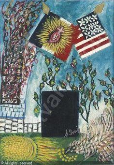 Les drapeaux américains et français avec le Sacré-Coeur, Seraphine Louis