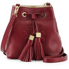 Tory Burch Thea Mini Crossbody Bucket Bag, Cabernet