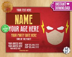 Flash Invitation EDITABLE TEXT Customizable By ColorAndPrints