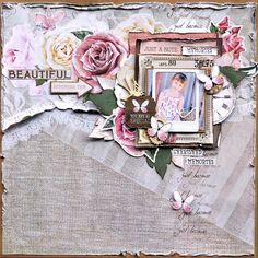 'Beautiful' layout by Belinda Spencer DT Kaisercraft using 'Mademoiselle' collection ~ Scrapbook Layouts. Scrapbook Albums, Scrapbooking Layouts, Frame My Photo, Cherished Memories, My Photos, Projects To Try, Gallery Wall, Paper Crafts, Colours