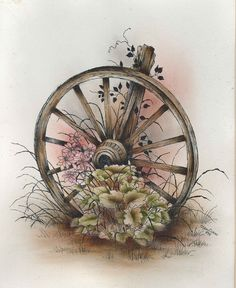 Pen And Ink Patterns | Pattern Packets - Old Wagon Wheel Vignette
