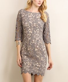 Another great find on #zulily! London Gray Lace Bodycon Dress by Soiéblu #zulilyfinds
