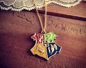 1 Pc Hogwarts Crest Gold with Enamel Harry Potter Pendant Charm Necklace